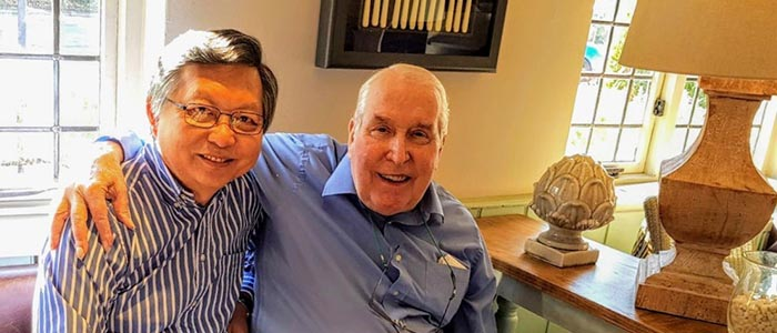 Mr Michael Ah-Moye at lunch with his mentor Professor Ian Craft, the renowned IVF pioneer