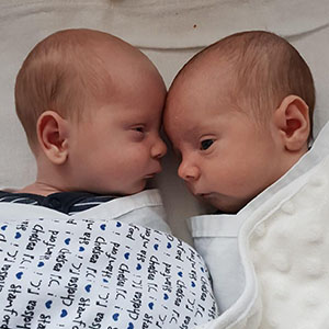 Gorgeous twin boys Albert and Stanley completed their family